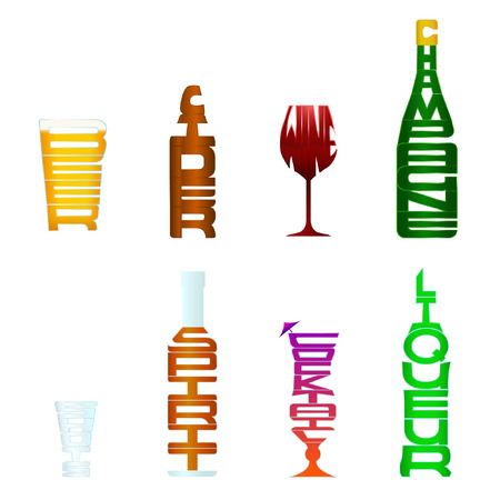 downloaded: A collection of 8 different types of alcohol using figurative typography, so each items word is in the shape of its meaning.  If downloaded as a vector, a silhouette version of each item is provided on a separate layer.  Compound Paths are present Transpa Illustration