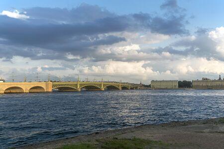 st  petersburg: View Troitsky Bridge in St. Petersburg