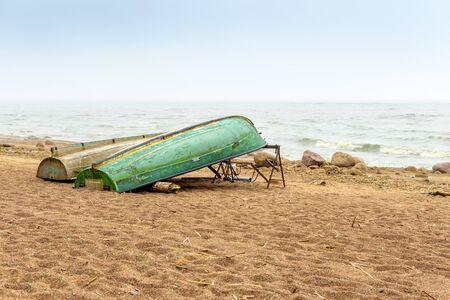 gloom: The Baltic sea beach in Repino near St Petersburg, Russia Stock Photo