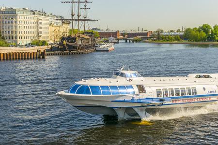 SAINT PETERSBURG, RUSSIA - MAY, 2016: hydrofoil Meteor (Raketa) sails on the river Neva. Saint Petersburg