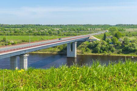 leningradskaya: a bridge for cars over the river Volkhov Stock Photo