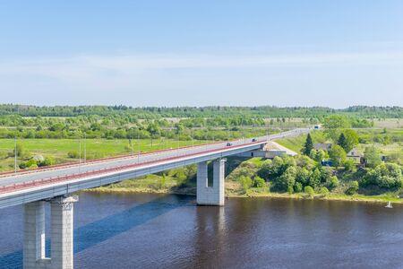 leningradskaya: The bridge across the Volkhov river near the village Semenkovo, St. Petersburg, Russia, Leningrad region