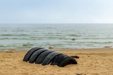 restless: The Baltic sea beach in Repino near St Petersburg, Russia Stock Photo