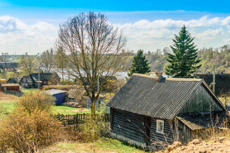 leningradskaya: Wooden house in the village Semenkovo Leningrad region Stock Photo