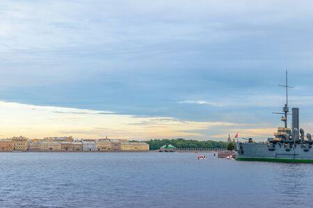 deck cannon: Cruiser Aurora after a long renovation newly put on Eternal Parking near Petrogradskaya embankment of the Neva river