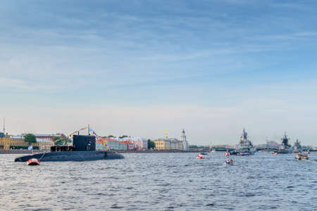 neva: SAINT-PETERSBURG, RUSSIA - JULY 2016: parade of warships on the Neva River in honor of the Navy