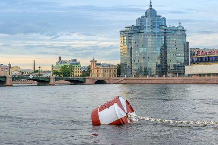 deck cannon: SAINT-PETERSBURG, RUSSIA - AUGUST 5, 2016: mooring barrel cruiser Aurora on the Neva River