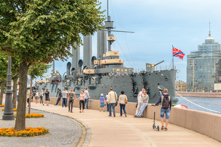 SAINT-PETERSBURG, RUSSIA - AUGUST 5, 2016: The cruiser Aurora after a long renovation returned to the place of eternal parking on the Petrograd embankment. Cruiser Aurora can visit all comers