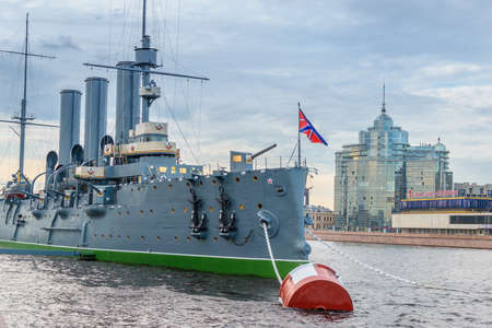 returned: SAINT-PETERSBURG, RUSSIA - AUGUST 5, 2016: The cruiser Aurora after a long renovation returned to the place of eternal parking on the Petrograd embankment.