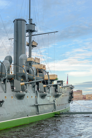 returned: SAINT-PETERSBURG, RUSSIA - AUGUST 5, 2016: The cruiser Aurora after a long renovation has returned to the place of eternal parking on the Petrograd embankment. Close-up Editorial