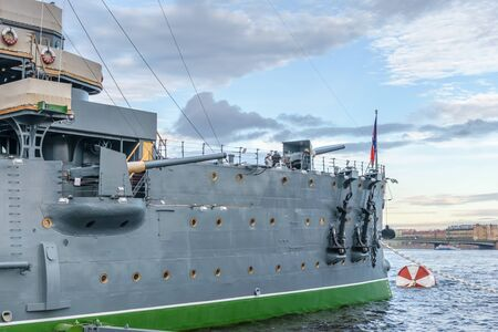 deck cannon: SAINT-PETERSBURG, RUSSIA - AUGUST 5, 2016: The cruiser Aurora after a long renovation has returned to the place of eternal parking on the Petrograd embankment. Close-up Editorial
