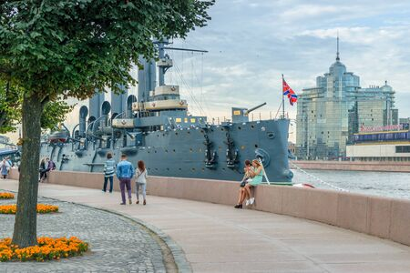 st petersburg: SAINT-PETERSBURG, RUSSIA - AUGUST 5, 2016: The cruiser Aurora after a long renovation returned to the place of eternal parking on the Petrograd embankment. Cruiser Aurora can visit all comers