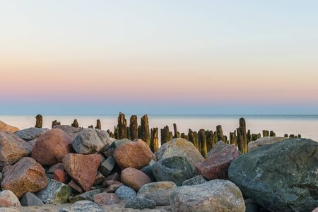 Breakwater at the Baltic sea coast Stock Photo