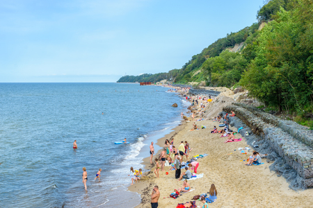 SVETLOGORSK, RUSSIA - August, 2016: the Beach on a clear Sunny day in the city of Svetlogorsk on the Baltic sea coast