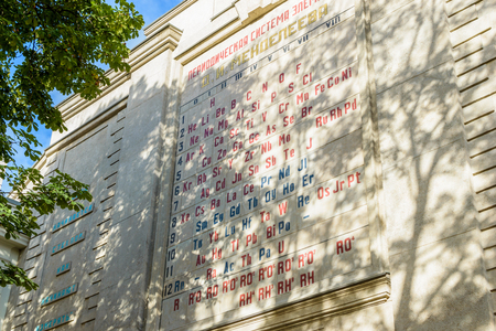 mendeleev: RUSSIA, SAINT-PETERSBURG - SEPTEMBER, 2016: the periodic system of chemical elements D. I. Mendeleev on the wall of the chamber of weights and measures
