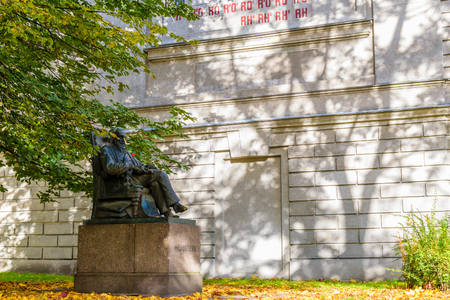 RUSSIA, SAINT-PETERSBURG - SEPTEMBER, 2016: the monument to D. I. Mendeleev in the garden in front of the chamber of weights and measures Editorial