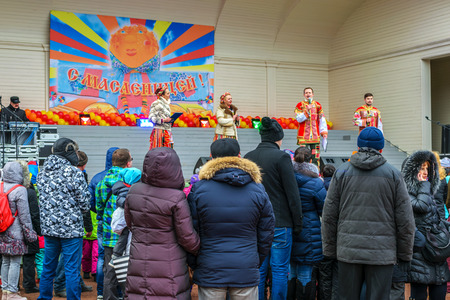 effigy: RUSSIA, REPINO, LENINGRAD REGION, - MARCH 13, 2016: the Traditional Slavic festival Maslenitsa, the concert and the burning of an effigy Editorial
