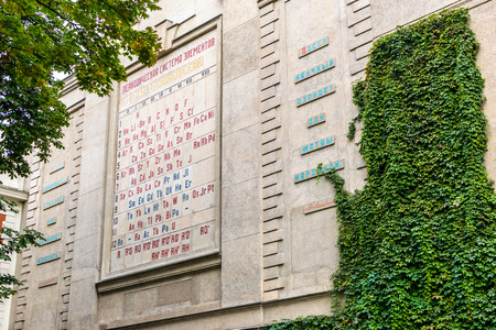 mendeleev: RUSSIA, SAINT-PETERSBURG - September, 2016:  Periodic table of elements of Mendeleev on the building of the chamber of weights and measures