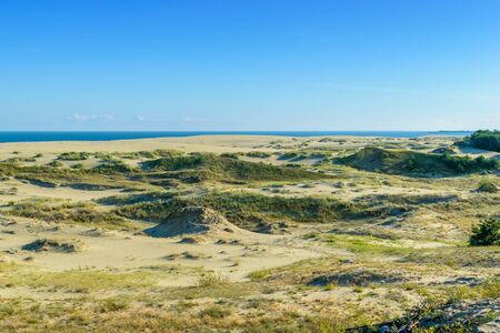 RUSSIA, VILLAGE of MARINE- August, 2016: the Curonian spit. Dune EFA Stock Photo