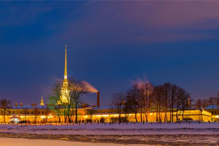 Peter and Paul Fortress. Night. View from the promenade Mytninskaya