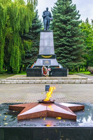 RUSSIA, KALININGRAD REGION, ZELENOGRADSK - August, 2016: a mass grave of soldiers who died in the great Patriotic war (World War 2). Monument and the Eternal flame