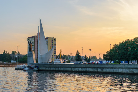 fishing fleet: RUSSIA, KALININGRAD, - August, 2016: Kaliningrad. Hundevadt. A memorial to the pioneers of the fishing fleet and the sculpture of St. Nicholas the Wonderworker Editorial