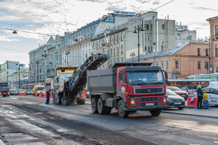 asphalting: RUSSIA, SAINT-PETERSBURG, - September, 2016: St. Petersburg. Ligovsky Prospekt. Road repair Editorial
