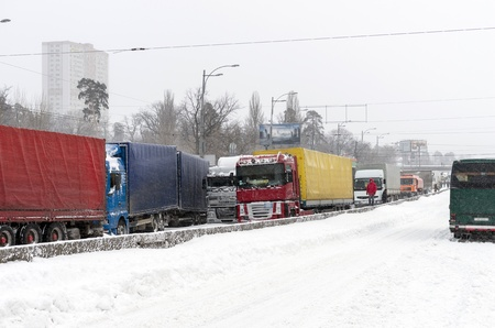 Traffic jam in the winter in Kiev