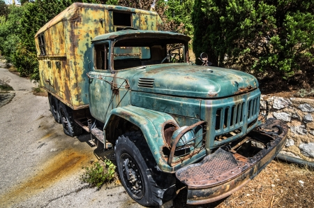 dirty car: Old truck in an abandoned military base in the Crimea  Stock Photo