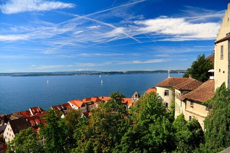 View on Lake Constance, Meersburg tiled roofs.