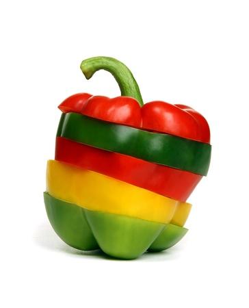 Pepper składaną kawałków kolorowego papryki.