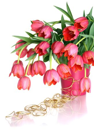 Beautiful bouquet of pink tulips isolated on white background.