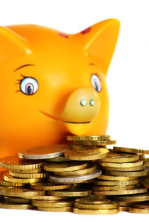 Gold coins on the background of a happy piggy bank isolated on a white background. photo