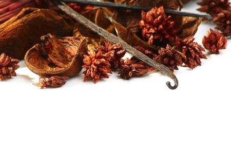 medley: Medley of fragrant dried herbs and spices isolated on a white background.