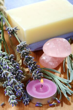 Set of products of lavender on a wooden table. photo