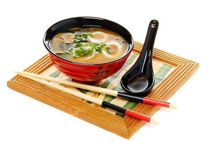 Miso soup with green onion isolated on white background Stock Photo - 10255695