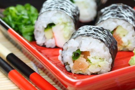 Traditional rolls with salmon up close.