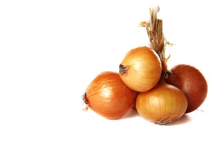 Bunch of onions on a white background.