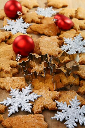 Christmas baking background balls and snowflakes. Stock Photo - 10708560