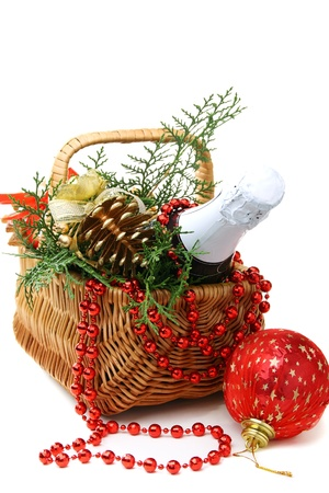 Basket with New Year's gifts and toys on a white background.