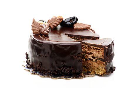 Small chocolate cake on a white background  Standard-Bild