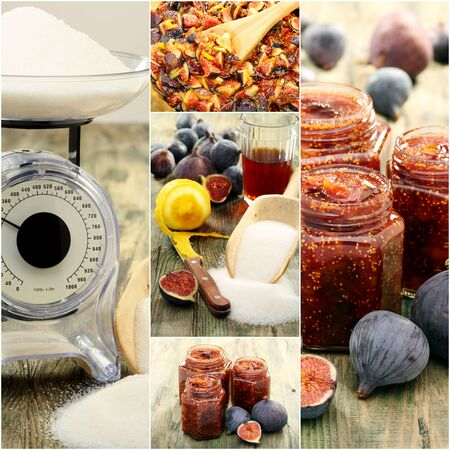 Ingredients and tools for making fig jam  Stock Photo