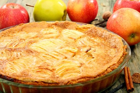 Homemade apple pie closeup on wooden table Stock Photo - 15374664