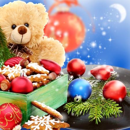 Collage z zabawkami Boże Narodzenie, ciasteczka i starej płyty winylowej