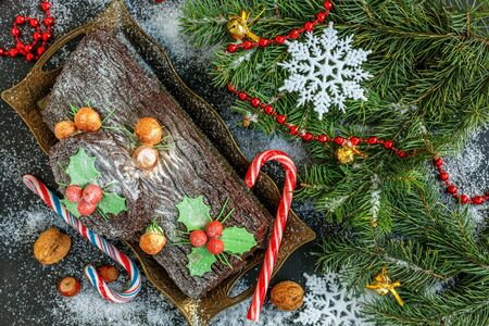 yule: Traditional Christmas Cake log, candy, tree branches and garland on a snowy wooden background.