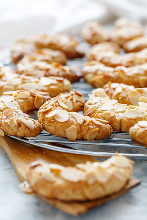 Delicious crescent cookies with almond flakes closeup, selective focus. Stock Photo
