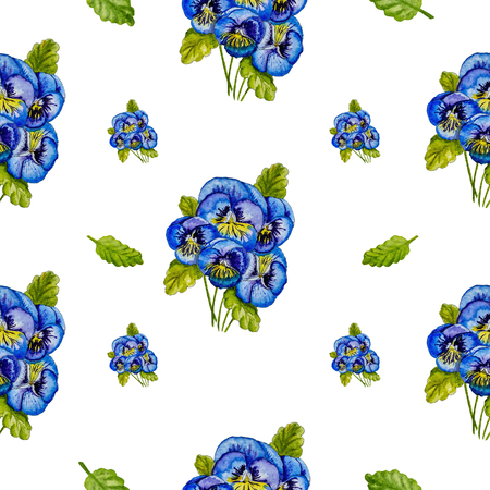 Floral pattern of blue bouquets of pansies and green leaves isolated on white background. Watercolor drawing by hand. Фото со стока