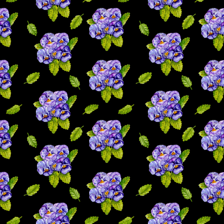 Seamless floral pattern. Bouquet of pansies flowers and green leaves isolated on black background. Watercolor painting. Фото со стока