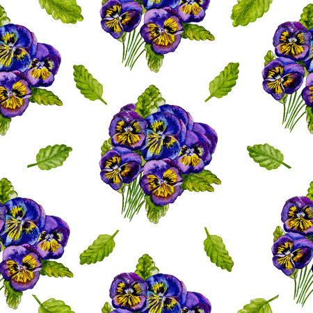 Bouquet of purple pansies flowers isolated on white background. Watercolor painting. Seamless pattern.
