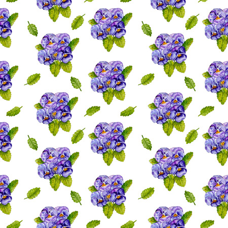 Seamless floral pattern. Bouquets of pansies flowers isolated on white background. Watercolor painting.